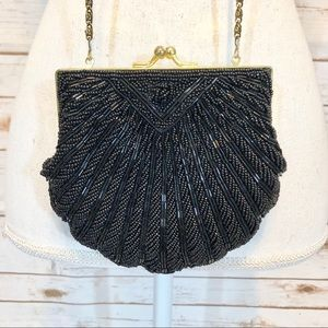 Le Regale Hand Beaded Black Sequin Bag
